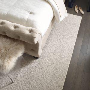 Greystone urban glamour bedroom wood flooring | Lake Forest Flooring