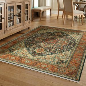 Area rug in dining room | Lake Forest Flooring